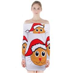 Cat Christmas Cartoon Clip Art Long Sleeve Off Shoulder Dress