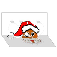 Child Of Artemis Christmas Animal Clipart Twin Hearts 3d Greeting Card (8x4)
