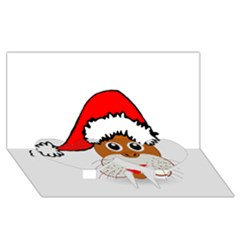 Child Of Artemis Christmas Animal Clipart Twin Heart Bottom 3d Greeting Card (8x4)