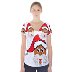 Child Of Artemis Christmas Animal Clipart Short Sleeve Front Detail Top