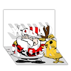 Christmas Santa Claus You Rock 3d Greeting Card (7x5)
