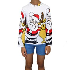 Christmas Santa Claus Kids  Long Sleeve Swimwear