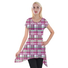 Pink Plaid Pattern Short Sleeve Side Drop Tunic