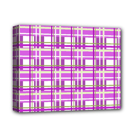 Purple plaid pattern Deluxe Canvas 14  x 11
