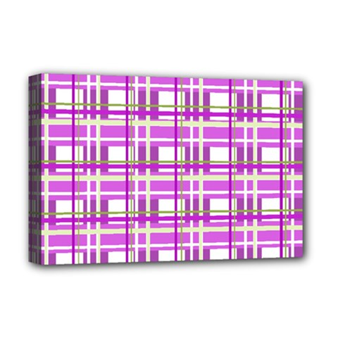 Purple plaid pattern Deluxe Canvas 18  x 12