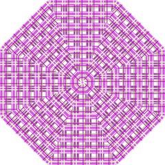 Purple plaid pattern Hook Handle Umbrellas (Medium)