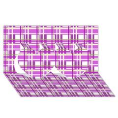 Purple plaid pattern Twin Hearts 3D Greeting Card (8x4)