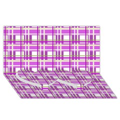 Purple plaid pattern Twin Heart Bottom 3D Greeting Card (8x4)