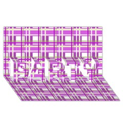 Purple plaid pattern PARTY 3D Greeting Card (8x4)