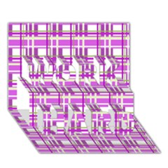 Purple plaid pattern WORK HARD 3D Greeting Card (7x5)
