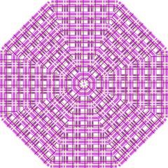 Purple plaid pattern Hook Handle Umbrellas (Small)