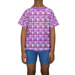 Purple plaid pattern Kids  Short Sleeve Swimwear