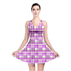 Purple plaid pattern Reversible Skater Dress