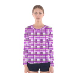 Purple plaid pattern Women s Long Sleeve Tee