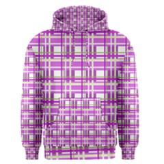 Purple plaid pattern Men s Pullover Hoodie