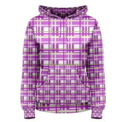 Purple plaid pattern Women s Pullover Hoodie