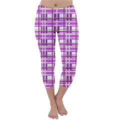 Purple plaid pattern Capri Winter Leggings