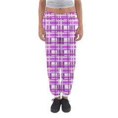 Purple plaid pattern Women s Jogger Sweatpants