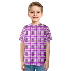 Purple plaid pattern Kids  Sport Mesh Tee