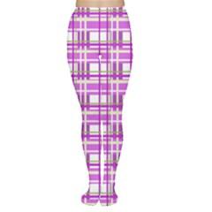 Purple plaid pattern Women s Tights