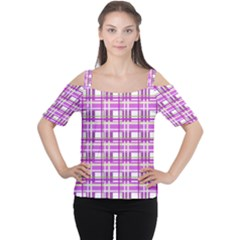 Purple plaid pattern Women s Cutout Shoulder Tee