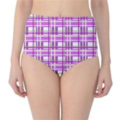 Purple plaid pattern High-Waist Bikini Bottoms
