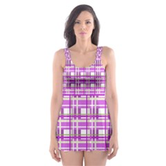 Purple plaid pattern Skater Dress Swimsuit