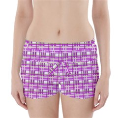 Purple plaid pattern Boyleg Bikini Wrap Bottoms