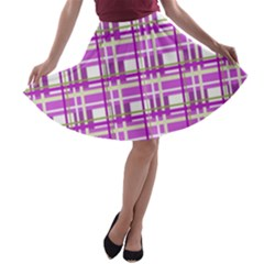 Purple plaid pattern A-line Skater Skirt