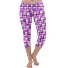 Purple plaid pattern Capri Yoga Leggings
