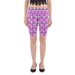 Purple plaid pattern Yoga Cropped Leggings