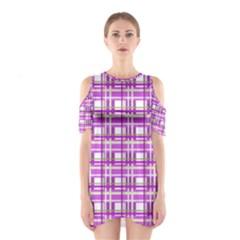 Purple plaid pattern Cutout Shoulder Dress