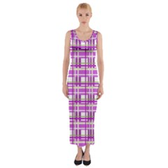 Purple plaid pattern Fitted Maxi Dress