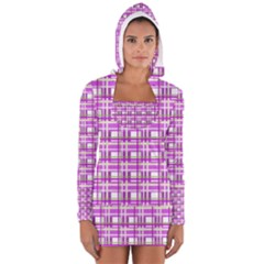 Purple plaid pattern Women s Long Sleeve Hooded T-shirt
