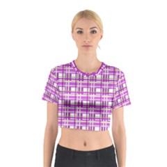 Purple plaid pattern Cotton Crop Top