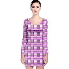 Purple plaid pattern Long Sleeve Velvet Bodycon Dress