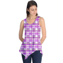 Purple plaid pattern Sleeveless Tunic