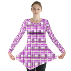 Purple plaid pattern Long Sleeve Tunic