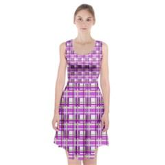 Purple plaid pattern Racerback Midi Dress