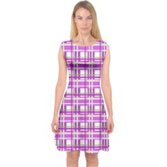 Purple plaid pattern Capsleeve Midi Dress
