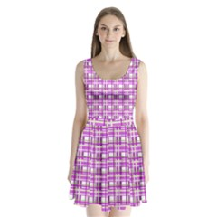 Purple plaid pattern Split Back Mini Dress