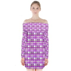 Purple plaid pattern Long Sleeve Off Shoulder Dress
