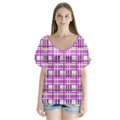 Purple plaid pattern Flutter Sleeve Top