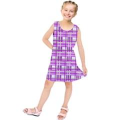 Purple Plaid Pattern Kids  Tunic Dress