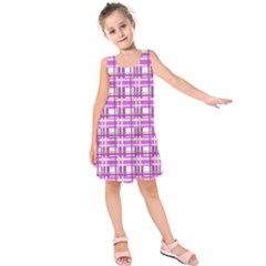 Purple plaid pattern Kids  Sleeveless Dress