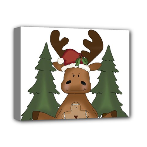 Christmas Moose Deluxe Canvas 14  X 11