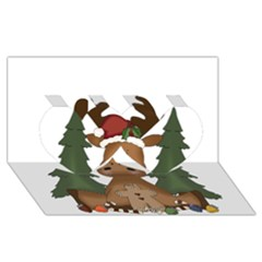 Christmas Moose Twin Hearts 3d Greeting Card (8x4)