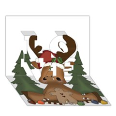 Christmas Moose Love 3d Greeting Card (7x5)