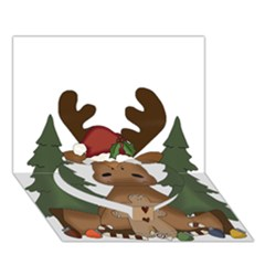 Christmas Moose Heart Bottom 3d Greeting Card (7x5)