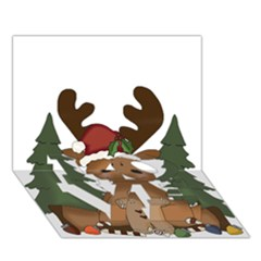 Christmas Moose Love Bottom 3d Greeting Card (7x5)